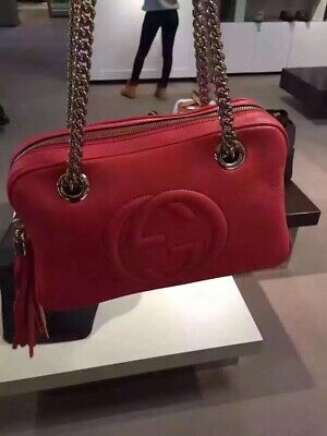 5052aa1679ac Gucci Soho Pink Leather Double Chain Medium Shoulder Bag 100% Authentic