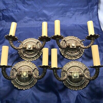 Antique Set Of Four 4 Petite Spanish revival brass sconces 49A