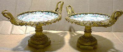 french pair gilded bronze chinese rose medallion hand painted plates 19 century