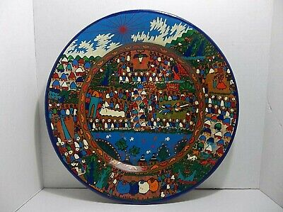 "Vintage Mexican Folk Art Pottery WEDDING PLATE Wall Charger 16"" Hand Painted"