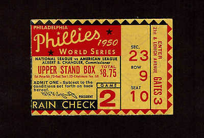 1950 WORLD SERIES Ticket Stub Game 1 Phillies vs Yankees - $279 95