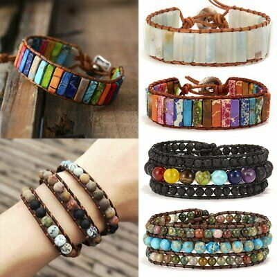 7 Chakra Natural Stone Tube Beads Bracelet Handmade Leather Wrap Bangle Gifts