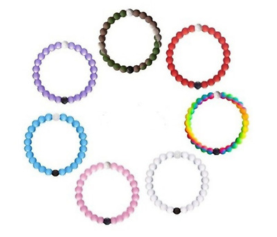"Multicolored Large (2.2"" Radius) Lokai Bangle Bracelets w/ Black and White Beads"