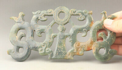 Old Chinese natural hetian jade hand-carved double dragons and man pendant
