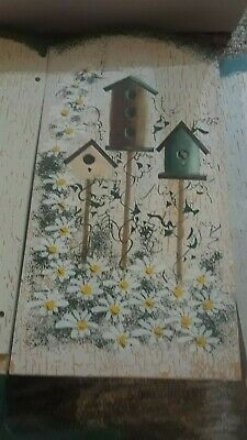 Small toy doll wooden painted chair with birdhouses and flowers