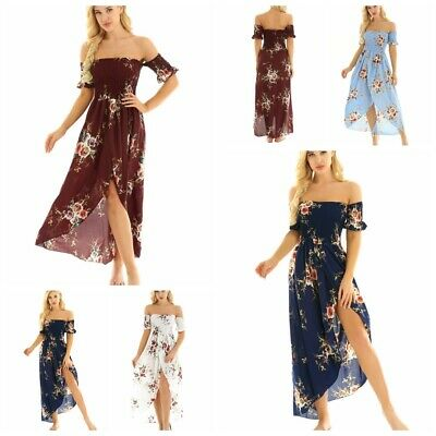Women Off Shoulder Boho Long Maxi Dress Lady Party Evening Summer Beach Sundress