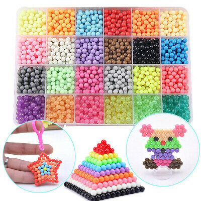 NEW 3000-5000 SUPER REFILL Aquabeads Water Fuse Beads 24 SEPARATE Color Packing