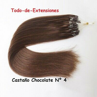 150 Extensiones Micro Ring, Cabello 100 % Natural, CASTAÑO CHOCOLATE Nº 4, 90 GR