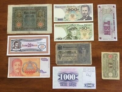 9 mixed bank notes from European countries.