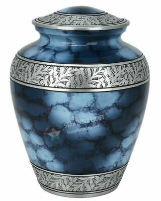 Adult Cremation Urn for Human Ashes 26cm Handcrafted Funeral Urn - Cherish Blue