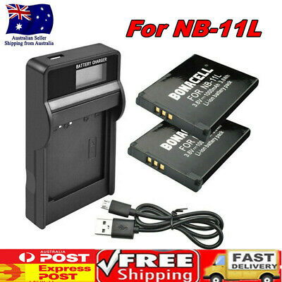 2X 1000mAh NB-11L NB11LH Battery / LCD Charger for Canon PowerShot A2300 A2500