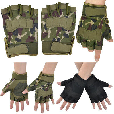 Military Army Combat Tactical Gloves Fingerless Army Airsoft Shooting Gloves UK