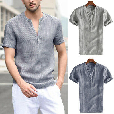 New Men's Vintage Linen Henley Shirts Short Sleeve Summer Striped  Casual Shirts