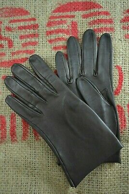 VINTAGE 1960s MILORE brown leather gloves size 6 1/2
