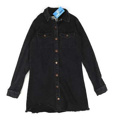 Denim Co Womens Size 10 Denim Black Denim Winter Shirt Dress (Regular)