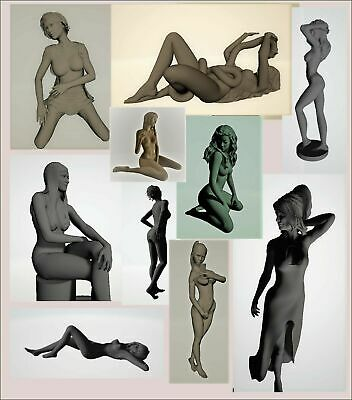 140 pcs 3d STL models statues Girls mega collection for CNC  3d print 4 axis