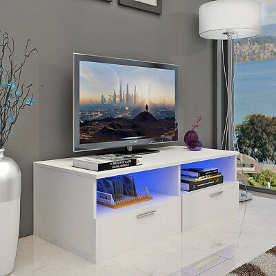 High Gloss TV Stand Unit Cabinet Console Furniture w/LED Shelves 2 Drawers