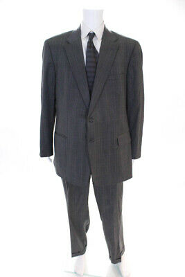 Tom James Mens Two Button Pleated Suit Gray Wool Size 46 Long