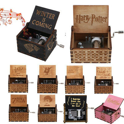 Retro Wooden Hand Crank Harry Potter Multi Music Box Engraved Handmade Xmas Gift
