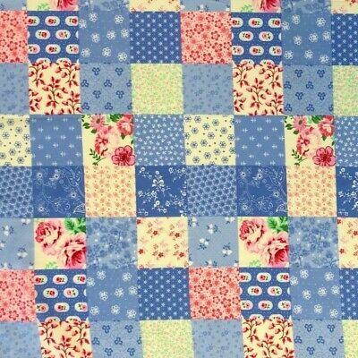 100% Cotton Poplin Fabric Rose & Hubble Patchwork Squares Ditsy Flowers