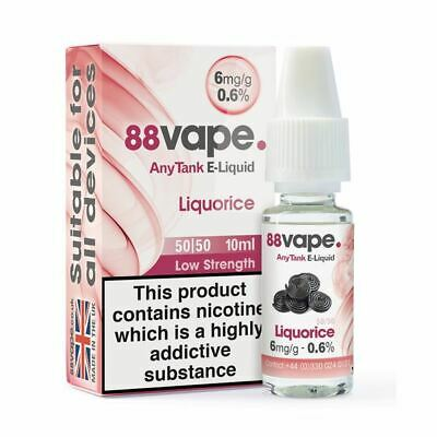 88VAPE VALUE Pack of 20 E-Liquids Liquorice BULK BUY MADE IN THE UK