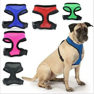 Adjustable Mesh Fabric Puppy Dog Pet Padded Harness Vest with Lead Leash Clip