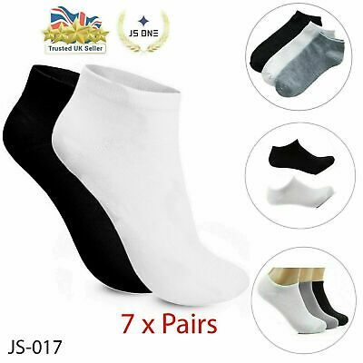 7 X Pairs Mens Womens Trainer Liner Ankle Cotton Rich Sports Gym Socks Lot JS017