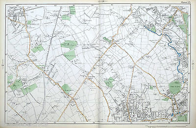 Original Antique Map of LONDON, MITCHAM, MALDEN, MORDEN, SUTTON, Bacon 1904
