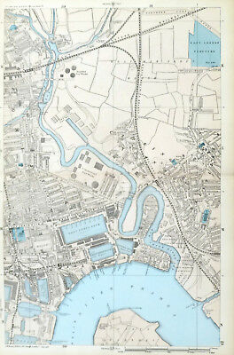 """LONDON, 1885 - BLACKWALL, CANNING TOWN, THE DOCKS, Original 9"""" Antique Map Bacon"""