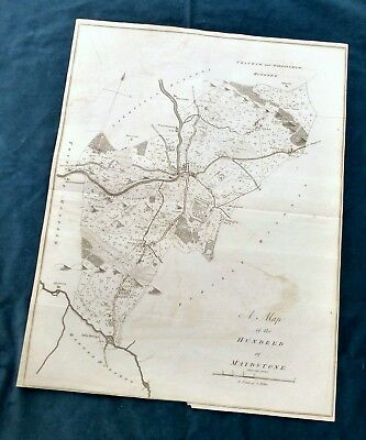 KENT, 1797 - ORIGINAL ANTIQUE MAP of Hundred of  MAIDSTONE - HASTED.
