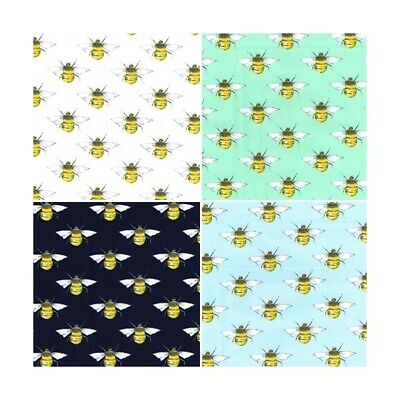 100% Cotton Poplin Fabric Rose & Hubble Bee Summer's Day Buzzy Bumble Bees