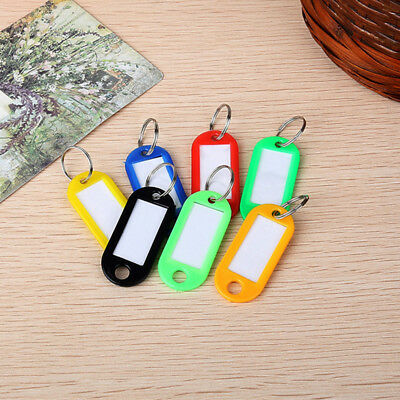50 PCS New Key Tags With Ring Keychain Key ID Label Luggage Name Tag Plastic