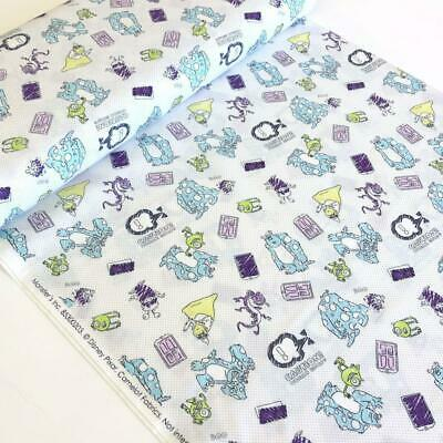 Camelot Fabric Disney Pixar Monsters Inc Sketchy Monsters White HALF METRE
