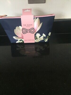 Ted Baker Ladies Navy Harmony Floral Fabric Cosmetic Beauty  Bag
