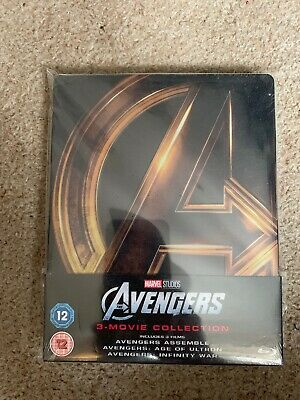THE AVENGERS : 3 MOVIE COLLECTION - (trilogy) BLU RAY STEELBOOK - NEW+SEALED