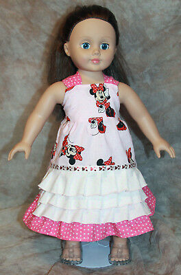 """Handmade 18"""" Doll Clothes Minnie Mouse Ruffle Dress Fits American Girl"""