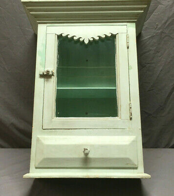 Antique Medicine Cabinet Cupboard Green Blue Shabby Cottage Chic Country 246-19L