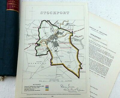 STOCKPORT, 1868  - Antique Map Lancashire,  Boundary Commissioners Report.