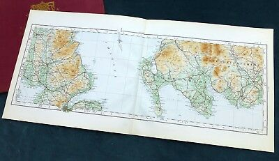 COUNTY ANTRIM (N I.) & WIGTOWNSHIRE 1924 - Vintage Cloth OS map.