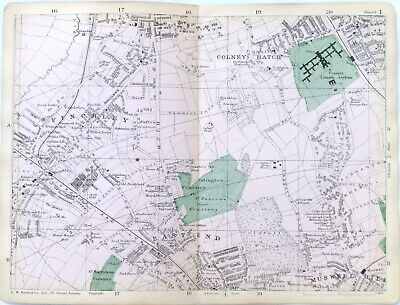 Muswell Hill Alexandra Park Map London 1908 #2