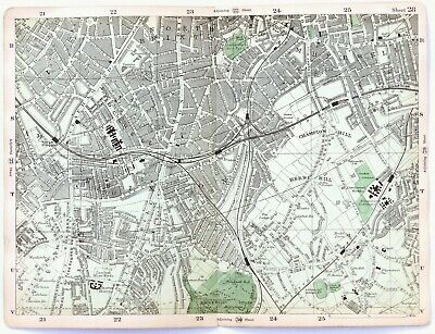 LONDON, 1900 - BRIXTON, STOCKWELL, HERNE HILL, Original Antique Map, Bacon.