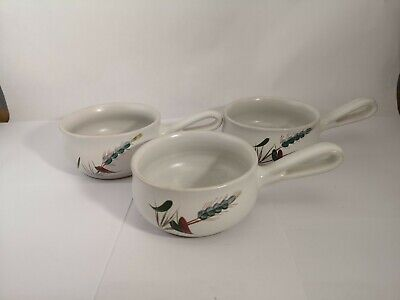Set of THREE Denby Greenwheat French Onion or Place Setting Handled Soup Bowls