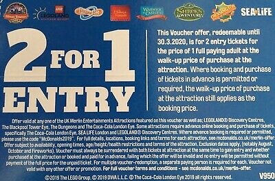 2 for 1 Entry Alton Towers Legoland Thorpe Park Madame Tussauds SeaLife Shrek