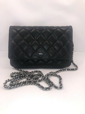 236e23e8955a Authentic CHANEL WOC Wallet on Chain Shoulder Bag Quilted Black Lambskin