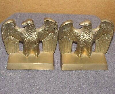 Vintage Pair American Eagle Solid Brass Bookends