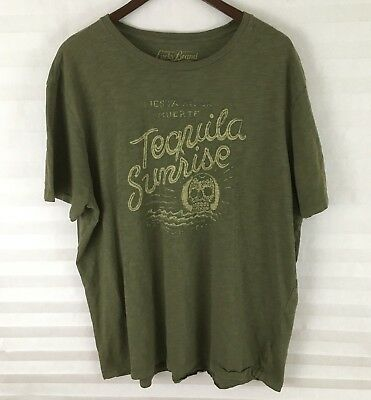ed429a8af Lucky Brand Mens T Shirt Size XL Army Green Short Sleeve Graphic Tee Tequila
