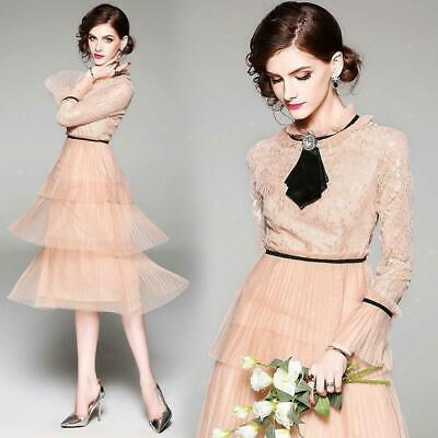 Womens A-Line Wedding Vintage lace mesh beaded runway party Beach Slim Fit dress