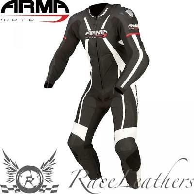 Armr Harada R Leather One Piece Motorcycle Motorbike Race Suit Black White Red