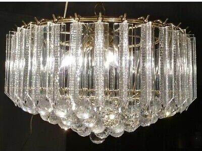 Vintage Lucite Wedding Cake ICE Hollywood Regency Chandelier Ceiling Fixture