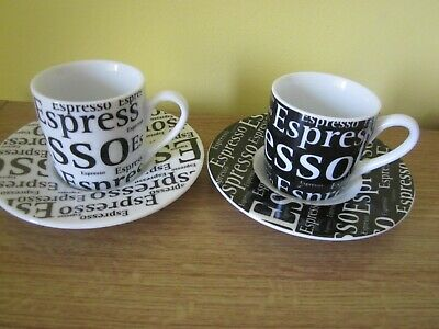 KONITZ Germany two black and white espresso cups and saucers